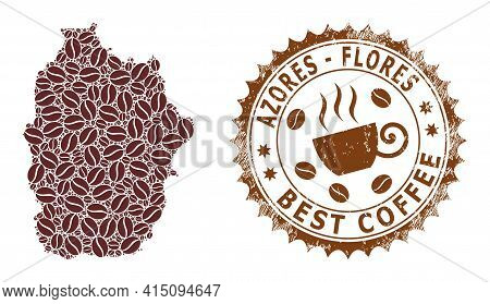 Mosaic Map Of Flores Island Of Azores Of Coffee And Scratched Award For Best Coffee