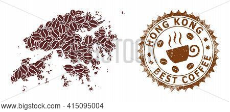 Mosaic Map Of Hong Kong With Coffee And Scratched Mark For Best Coffee