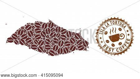Mosaic Map Of Isla La Tortuga From Coffee Beans And Scratched Badge For Best Coffee