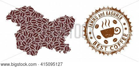 Mosaic Map Of Jammu And Kashmir State With Coffee And Distress Seal For Best Coffee