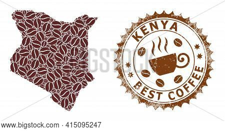 Mosaic Map Of Kenya With Coffee And Textured Seal For Best Coffee