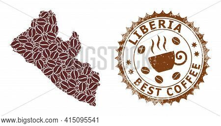 Mosaic Map Of Liberia Of Coffee Beans And Grunge Mark For Best Coffee