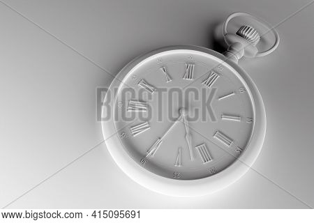 3d Illustration  Of Antique   White  Round Clock On  Monocrome Background. Stopwatch Icon, Logo. Chr