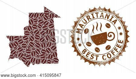 Mosaic Map Of Mauritania With Coffee And Scratched Award For Best Coffee