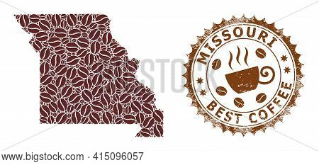 Mosaic Map Of Missouri State With Coffee And Grunge Award For Best Coffee