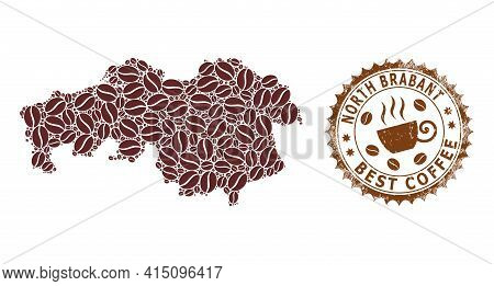 Mosaic Map Of North Brabant Province Of Coffee And Textured Mark For Best Coffee