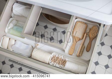 Marie Kondos Method Organization Of Bathroom Amenities. Tidying Up Or Storage Household Space