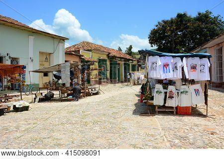 TRINIDAD, CUBA - JULY 25, 2016: Street Market. Trinidad is a town in the province of Sancti Spiritus, central Cuba.