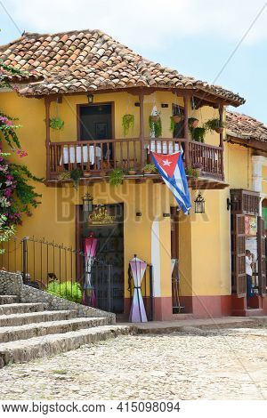 TRINIDAD, CUBA - JULY 25, 2016: Los Conspiradores Restaurant. The restaurant served as a meeting place to the Trinidadian members of the Conspiracy of the Mine de la Rosa Cubana in 1848.