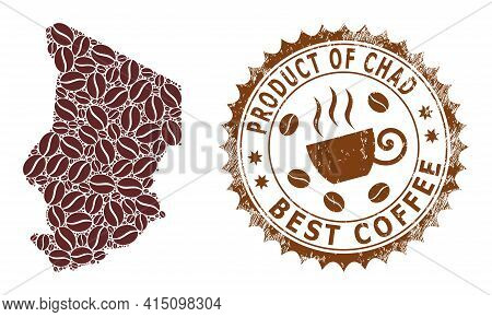Mosaic Map Of Chad Of Coffee Beans And Distress Mark For Best Coffee
