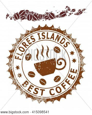 Mosaic Map Of Flores Islands Of Indonesia With Coffee Beans And Grunge Award For Best Coffee