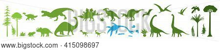 Green Dino Silhouettes, Vector Illustration Isolated On White Background. Dinosaur, Jurassic Wild An