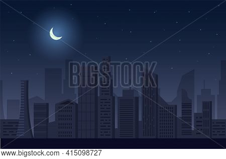 Night City Blackout, Vector Illustration. Cityscape Skyscraper Silhouettes. Dark City Without Electr