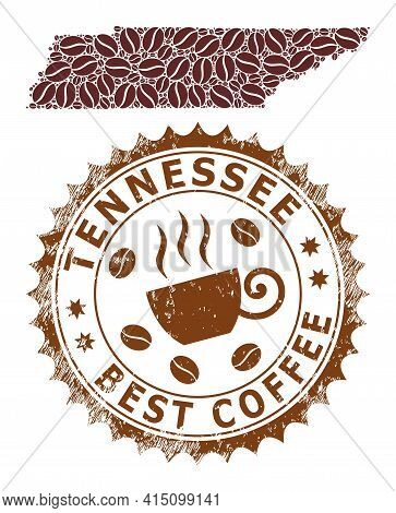 Mosaic Map Of Tennessee State With Coffee Beans And Textured Seal For Best Coffee