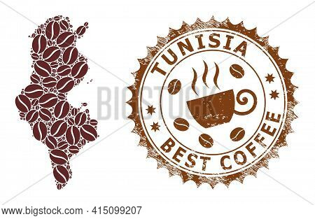 Mosaic Map Of Tunisia Of Coffee And Distress Stamp For Best Coffee