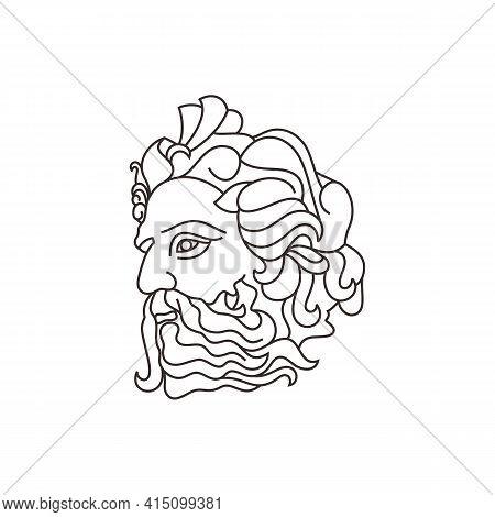 Greek God Poseideon Line Art Logo. Ancient Greek God Sculpture. Face Poseidon Triton Neptune Logo De