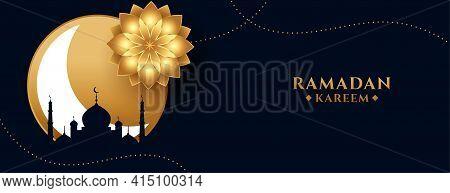 Ramadan Kareem Or Eid Mubarak Holiday Banner In Golden Theme