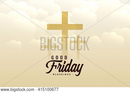 Good Friday Clouds Background With Crosses Vector Template Design