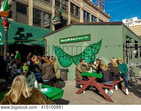 Chicago, Il March 13, 2021, People Eating And Drinking Outside Of Butch Mcguire Irish Pup For Saint