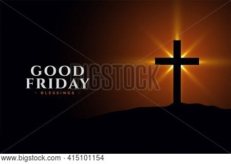 Good Friday Holy Background With Cross Vector Template Design