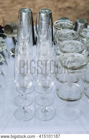 Group Of Glass, Setup For Wedding Ceremony. (selective Focus)