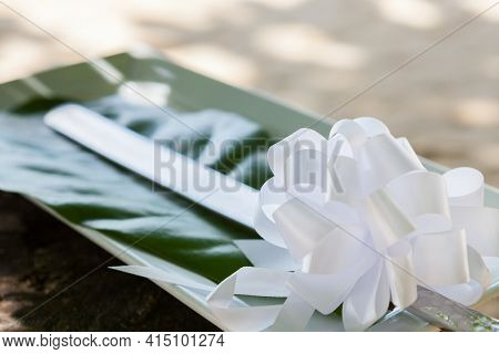 Knife Prepared For Cutting Cake In Wedding Celebration.
