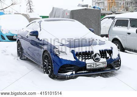 Novyy Urengoy, Russia - March 21, 2021: Luxury Sportscar Mercedes-benz Mercedes-benz C63 Amg (c205)