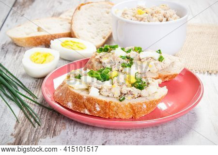Crusty Baguette With Homemade Mackerel Or Tuna Fish Paste, Egg And Chives