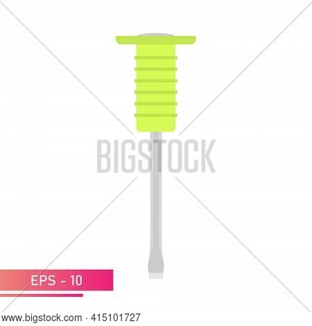 Chisel On Metal With A Comfortable Soft Handle In Green Color. Realistic Design On A White Backgroun