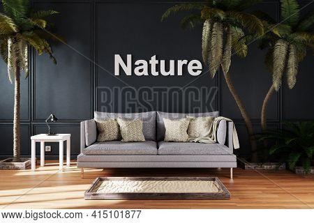 Elegant Living Room Interior With Vintage Sofa Between Large Palm Trees; Nature; 3d Illustration