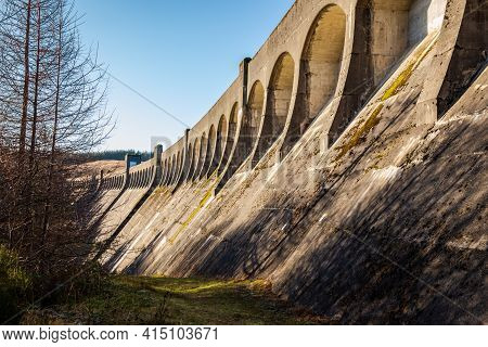 Arched Architecture On Clatteringshaws Dam, A Gravity Dam On The Galloway Hydro Electric Scheme, Sco