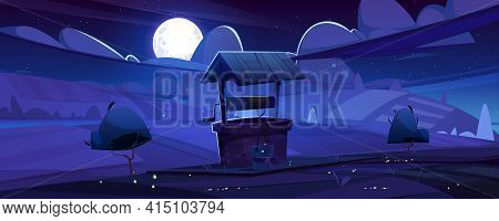 Old Stone Well With Drinking Water On Hill. Summer Night Landscape With Full Moon Light, Vintage Rur