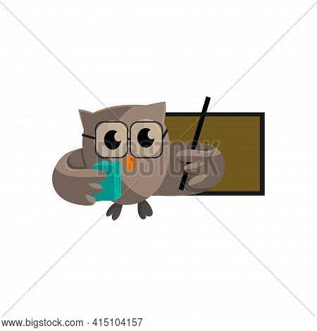 Owl Bird Bring Book And Pointing To Blank Board. Template Design Smart Education With Owl Symbol
