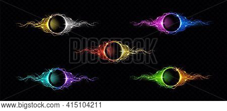 Electric Lightning Ring With Color Glow Effect. Illuminated Neon Round Frames. Vector Realistic Digi