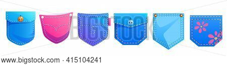Denim Patch Pockets, Cartoon Design Elements For Jean Garment Of Blue And Pink Colors With Cute Flow