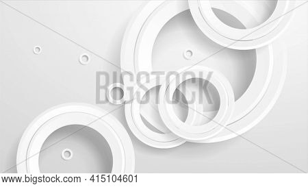 Abstract geometric background with grey paper circles