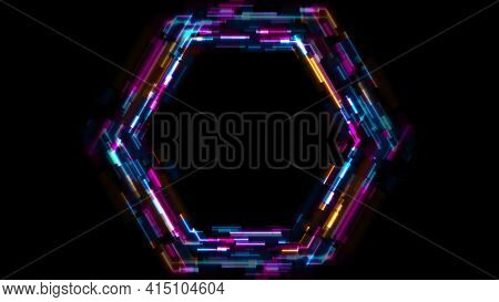 Abstract tech glowing neon hexagon background with glitch effect