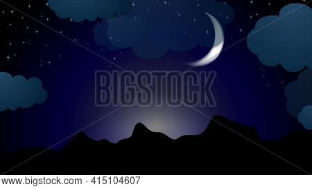 Moonlight night background with clouds and stars