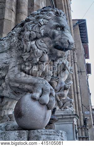 Detail Palazzo Vecchio Or Della Signoria In Florence, Italy.