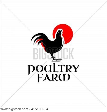 Poultry Logo Chicken Farm Vector Illustration, Standing Rooster Graphic Design Template