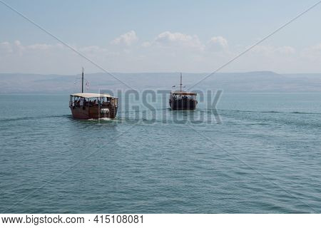 Wooden Boats Floating On The Sea Of Galilee, Israel. Sunny Day On Kinneret. High Quality Photo