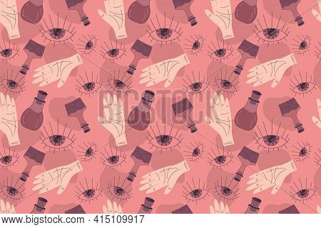 Seamless Boho Pattern In A Minimalistic Flat Linear Style. Vector Illustration With An Eye, Hand, An