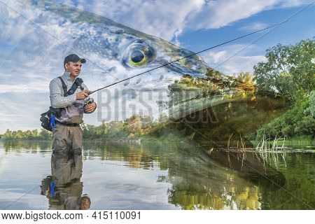 Pike Fishing. Photo Collage Of Angler In River Water On Soft Focus Muskellunge Fish Background.