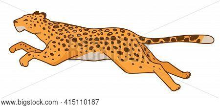 Running Leopard Or Speedy Cheetah Predator Animal