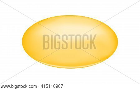Golden Oval Capsule Of Fish Oil, Collagen, Serum, Vitamin A Or E, Omega Fatty Acid. Food Supplement
