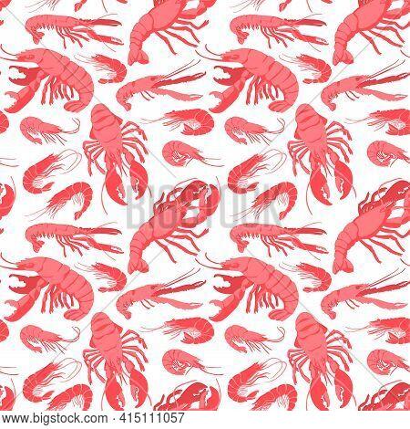 Decorative Vector Seamless Pattern With Drawn Marine Arthropod Crustaceans.