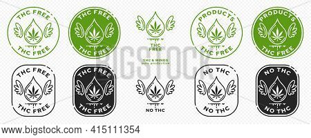 Conceptual Stamps For Packaging Pharmaceutical, Medical, Cosmetic Products. Marking - Thc Free. Cann