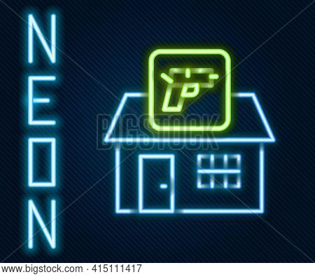 Glowing Neon Line Hunting Shop With Rifle And Gun Weapon Icon Isolated On Black Background. Supermar