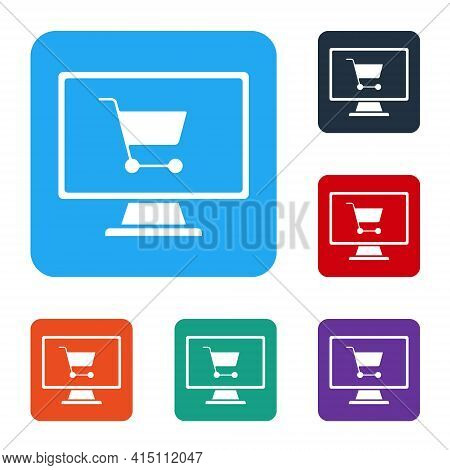 White Shopping Cart On Screen Computer Icon Isolated On White Background. Concept E-commerce, E-busi