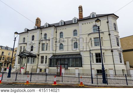 Llandudno, Uk: Mar 18, 2021: Rebuilding Work Of The Tudno Castle Hotel Is Nearing Completion. The Re
